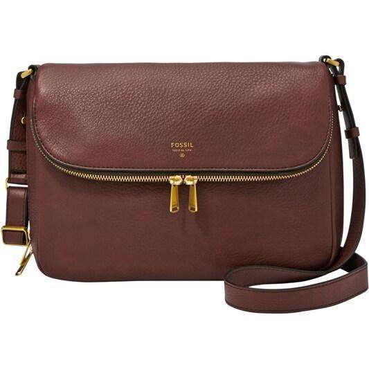 tas-ZB5875206-Fossil Preston Flap Espresso Leather Crossbody Handbag-Balilene