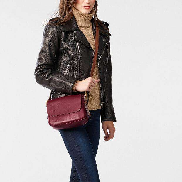 tas-ZB6759609-Fossil Harper Small Saddle Crossbody Wine Bag-Balilene