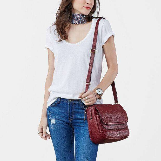 tas-Zb6921609-Fossil Peyton Large Double Flap Wine-Balilene