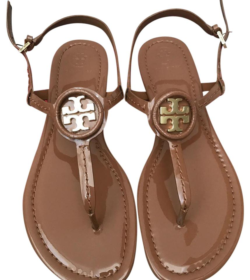 Tory Burch Royal Tan Dillan Soft Patent Leather Sandals