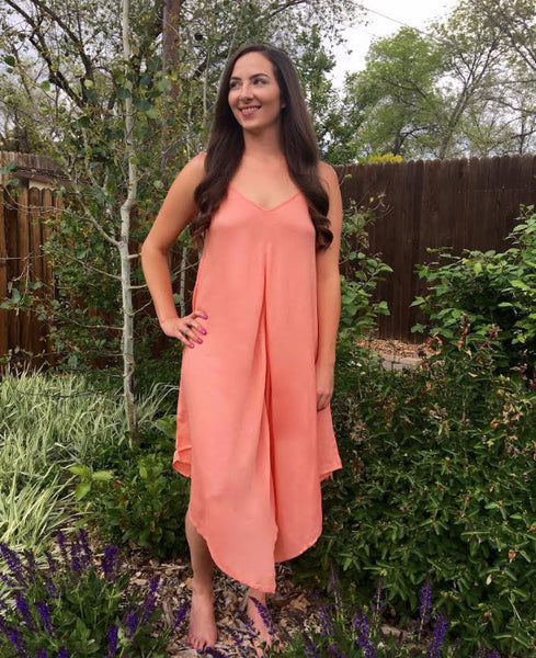 Coral Hanky Hem Dress