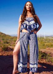 Navy Print Shoulder Tie Crop Top and Side Overwrap Pant