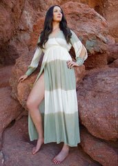 Sage Green and Ivory Tye-Dye Overwrap Maxi Dress