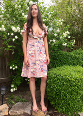 Blush Print Floral Overwrap Dress