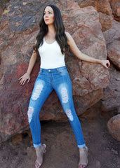 Light Denim Distressed Mid Waisted Jeans