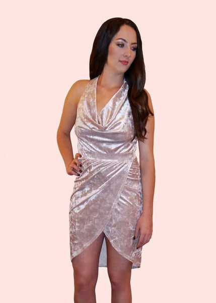 Champagne Slouch Halter Dress
