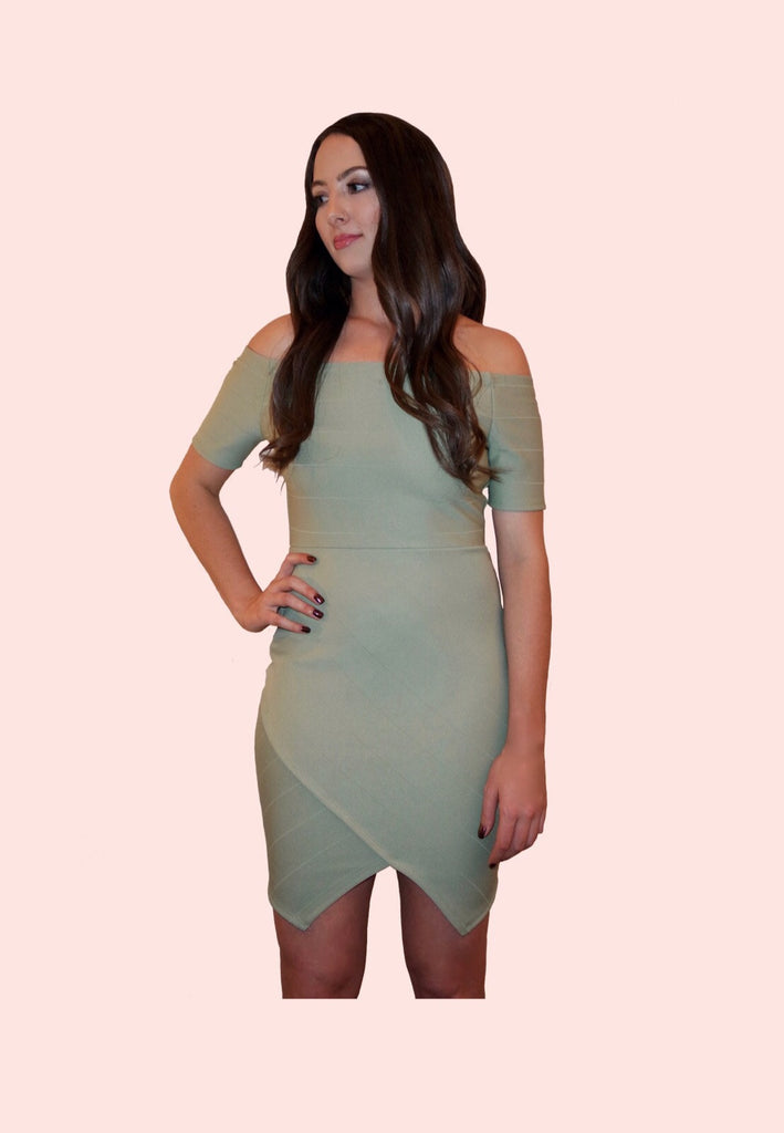Sage Green Off the Shoulder Dress
