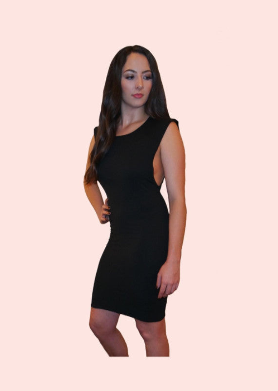 Black Low Swoop Side dress