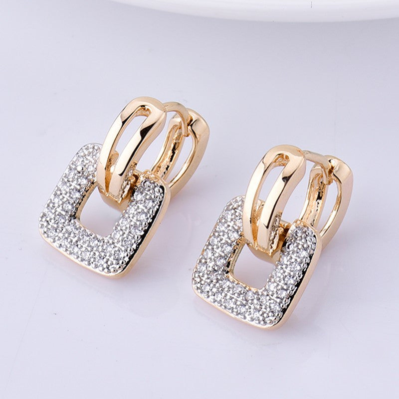 shaped pave back wide gold diamond square earrings stud zoom set white screw