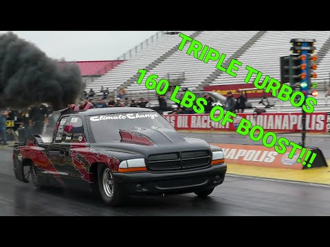 """CLIMATE CHANGE"" INSANE TRIPLE TURBO CUMMINS POWERED DIESEL DRAG TRUCK PUSHING 160 LBS OF BOOST."