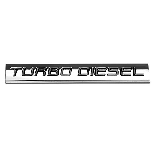 "Black Letter""Turbo Diesel"" Logo Metal Decal Emblem - DieselTrucks.com"