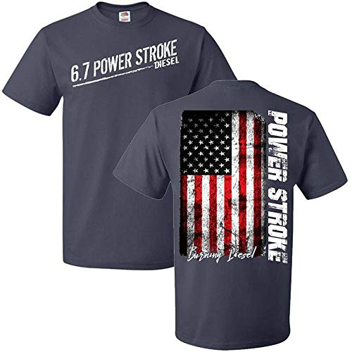 Aggressive Thread 6.7 Powerstroke T-Shirt with American Flag - DieselTrucks.com