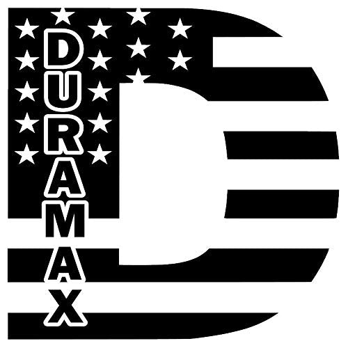 "KJM Enterprises Duramax D Diesel American Flag Decal (10"", Gloss White) - DieselTrucks.com"