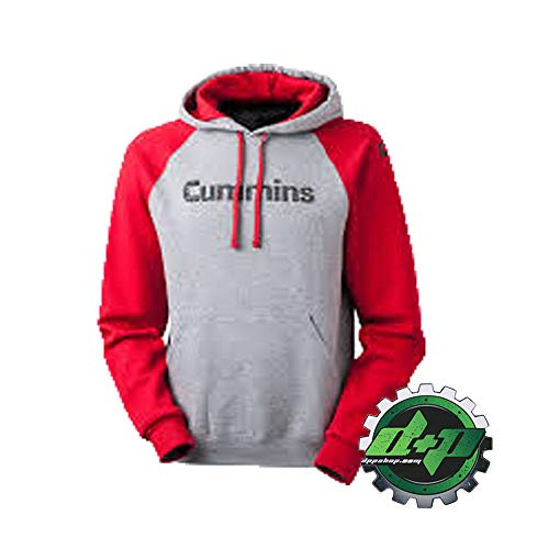 Dodge Cummins Truck Diesel Hoodie Hooded Shirt Top Red Gray (Small) - DieselTrucks.com