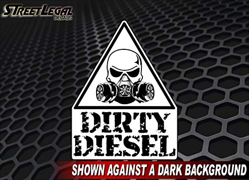 "Caution Dirty Diesel Decal Diesel Truck Engine Eco Accessories Skull Respirator Warning Vinyl Stickers (White, 5""x 7"") - DieselTrucks.com"