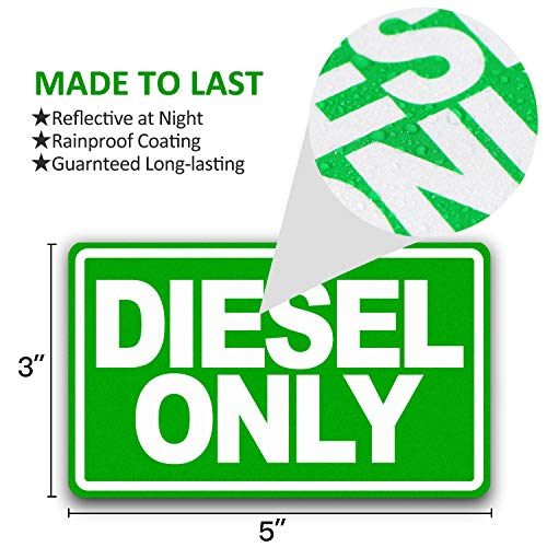 "Anley 5"" X 3"" Diesel Only Decal 3Pcs - Reflective Diesel Only Sign on Fuel Tank Signage to Prevent User Error - Adhesive Fuel Stickers for Trucks, Tractors, Machinery(3 Pack Set) - DieselTrucks.com"