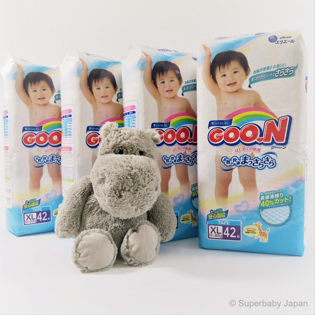 GOO.N nappies - XLarge -168 pieces (4 pack carton) - Superbaby Japan