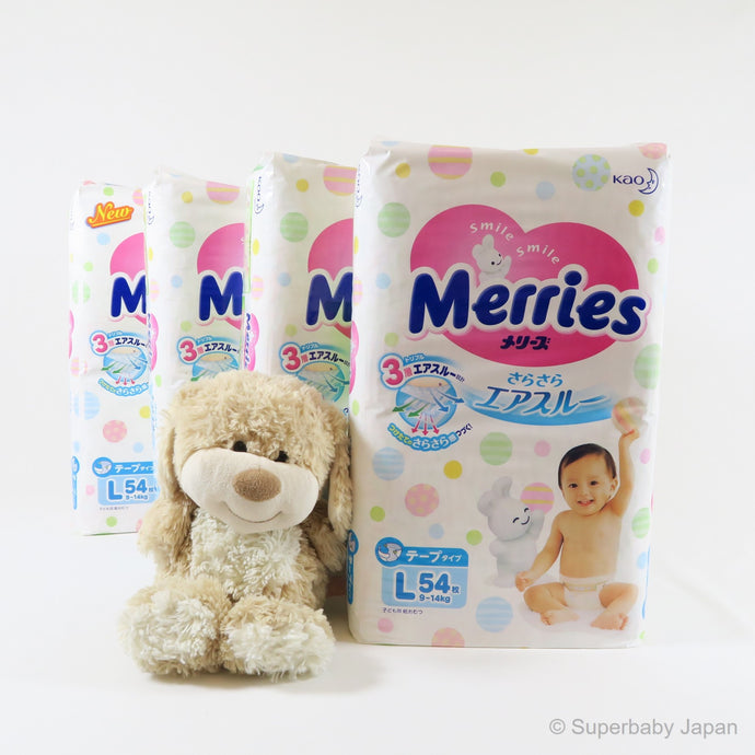 Merries nappies - Large - 216 pieces (4 pack carton) - Superbaby Japan