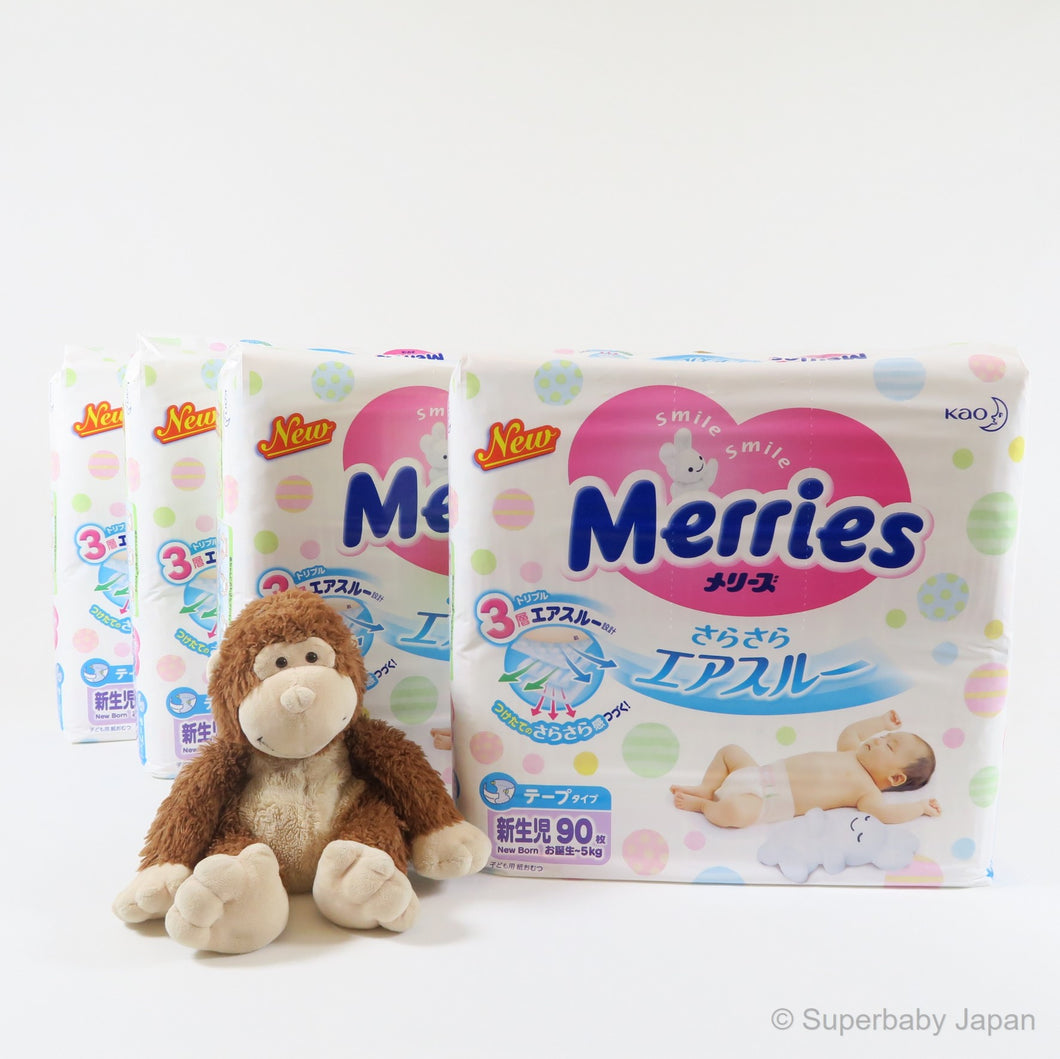 Merries nappies - Newborn - 360 pieces (4 pack carton) - Superbaby Japan
