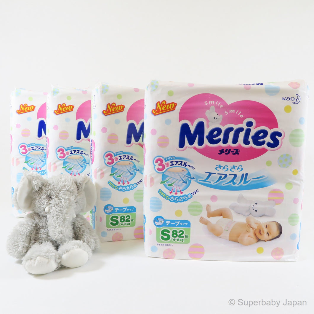 Merries nappies - Small - 328 pieces (4 pack carton) - Superbaby Japan
