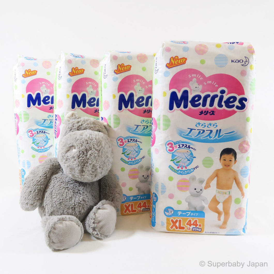 Merries nappies - XLarge - 176 pieces (4 pack carton) - Superbaby Japan