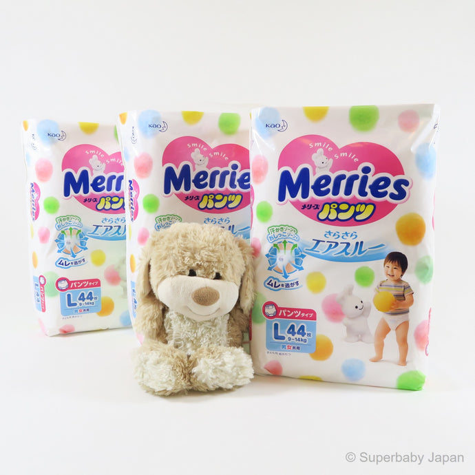 Merries nappy pants - Large - 132 pieces (3 pack carton) - Superbaby Japan
