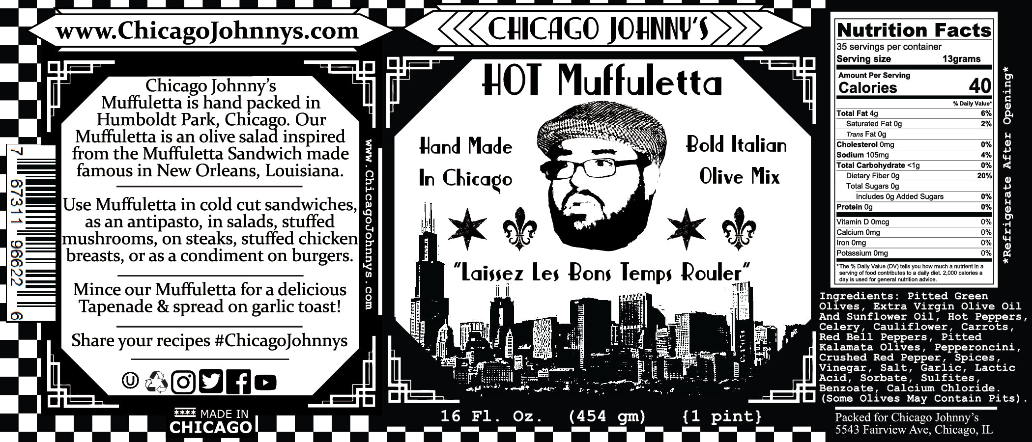 chicago johnnys hand made hot muffuletta label