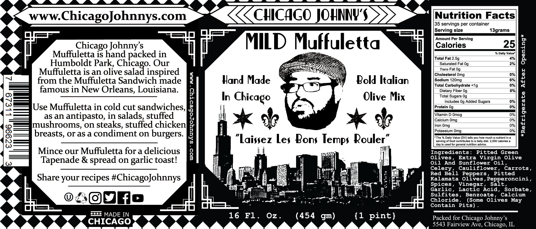 chicago johnnys mild muffuletta in extra virgin olive oil label