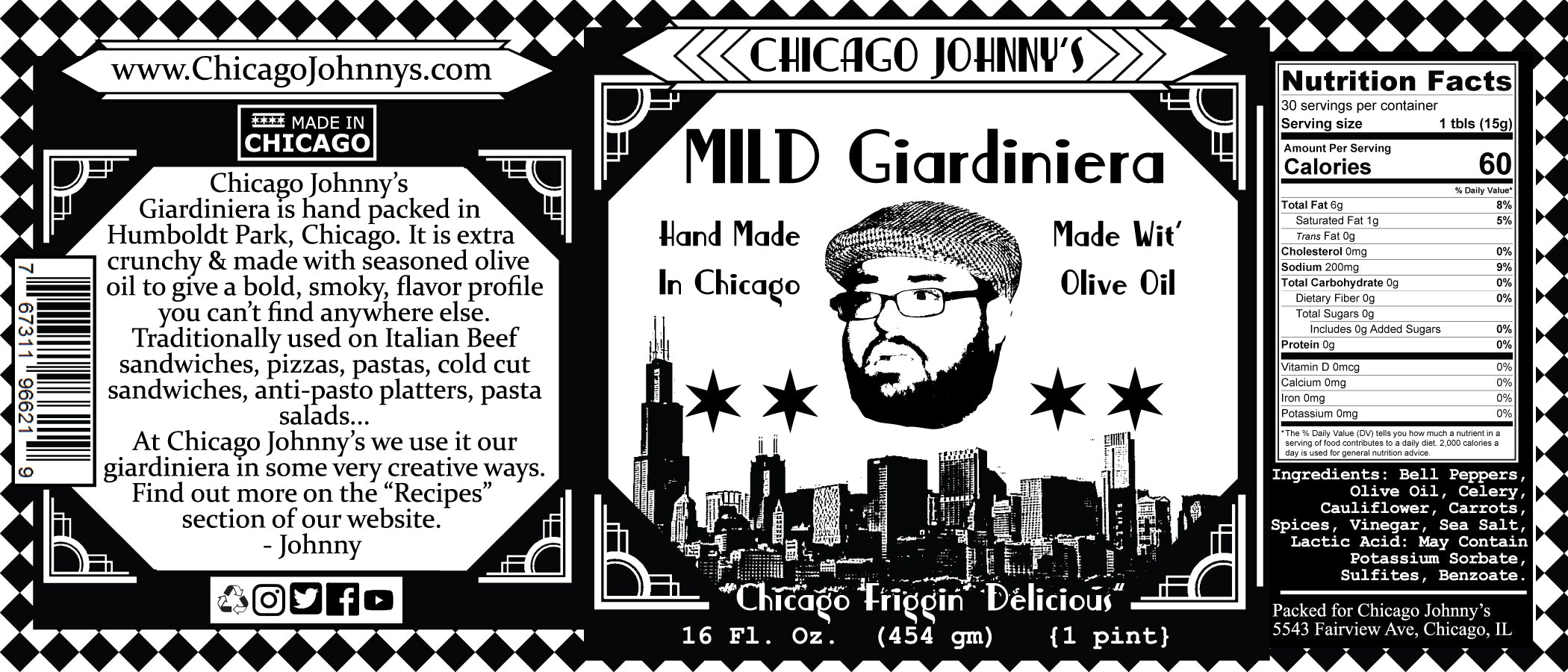 chicago johnnys giardiniera made in olive oil