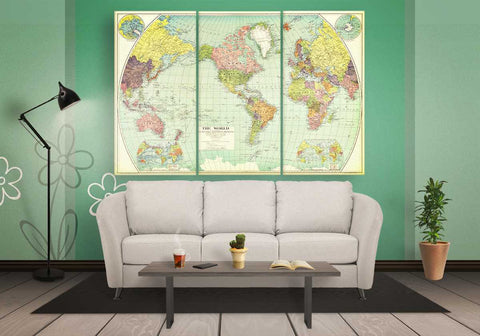 Vintage Reprint of a Old World Map Canvas | Panelwallart.com