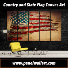 5 panel American Flag Canvas Wall Art | PanelWallArt.com