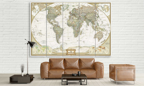 5 Panel Detailed World Map Canvas Wall Art | Panelwallart.com