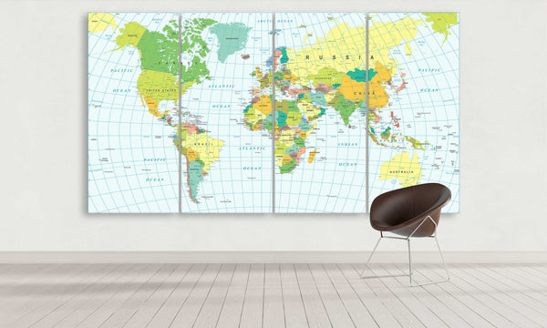 Multi Panel Light Blue World Map Canvas with Longitudes and Latitudes | Panelwallart.com