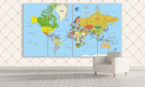 Multi Panel Colourful and Educational World Map Canvas | Panelwallart.com