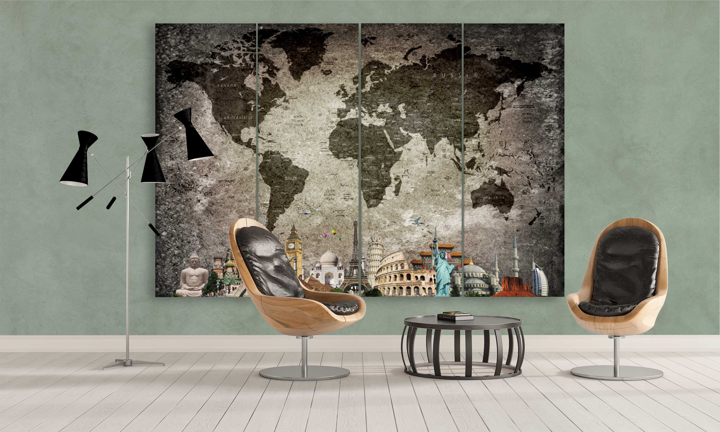 5 panel unique push pin world map canvas wall art with design on rock surface | Panelwallart.com