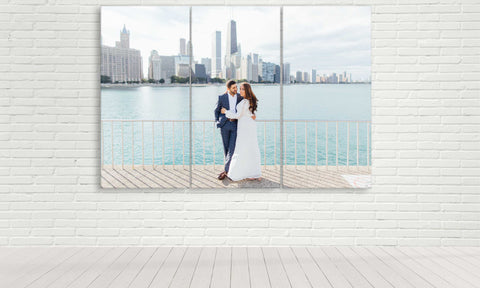 triptych wedding photo on canvas