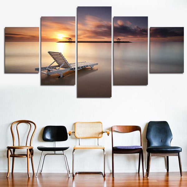 5 panel beach and beach chair canvas wall art by panelwallart.com