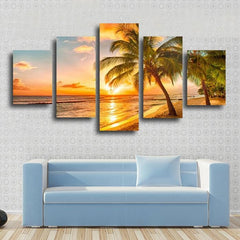 5 panel beach and palm tree canvas wall art by panelwallart.com