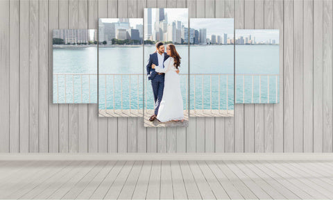 5 panel wedding photo canvas print