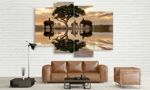 Vietnam Farming Elephant Canvas Wall Art