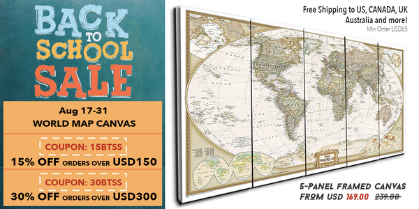 World Map Canvas Panel Wall Art Promotion Sale by panelwallart.com