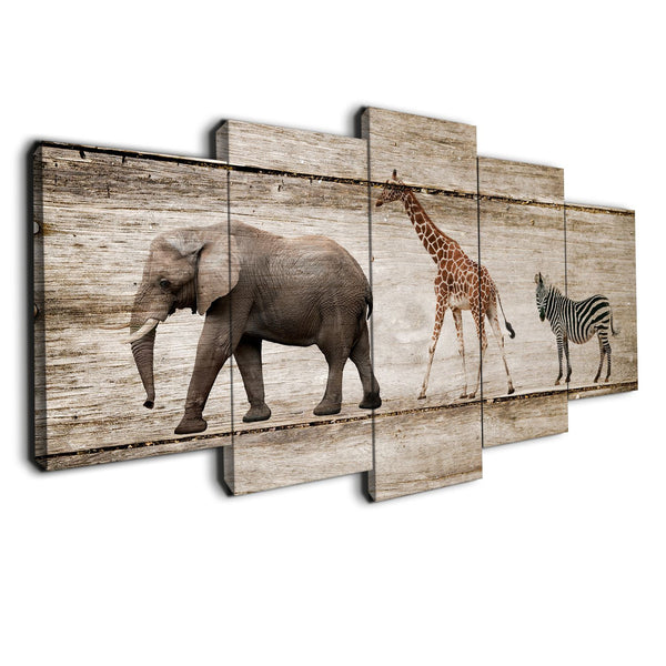 5 panel children animals canvas prints on wood texture by panelwallart.com