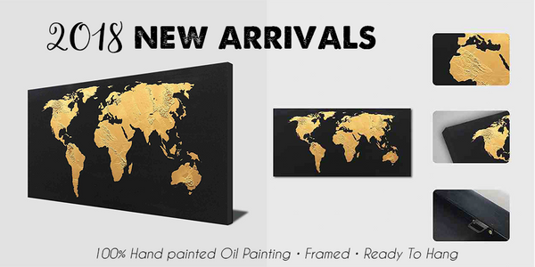 1 panel 100% hand painted on canvas golden world map with black background
