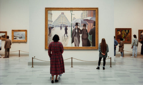 a lady looking at art