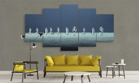 5 Panel Star Wars Canvas Prints Storm Trooper at Battle