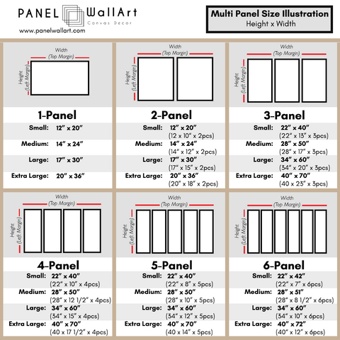 Size Chart - 5 panel MTG Canvas Wall Art