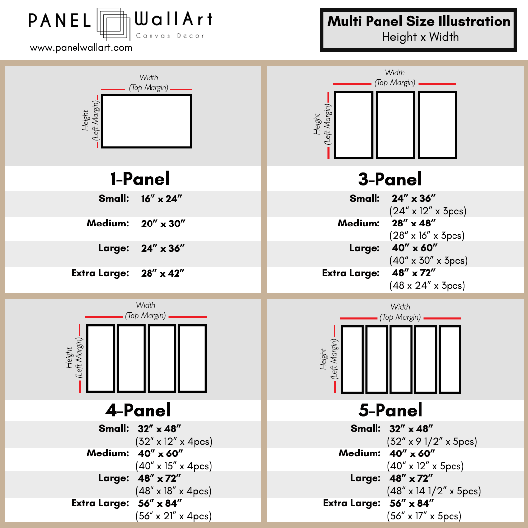 Multi Panel Canvas Wall Art Size Chart | Panelwallart.com