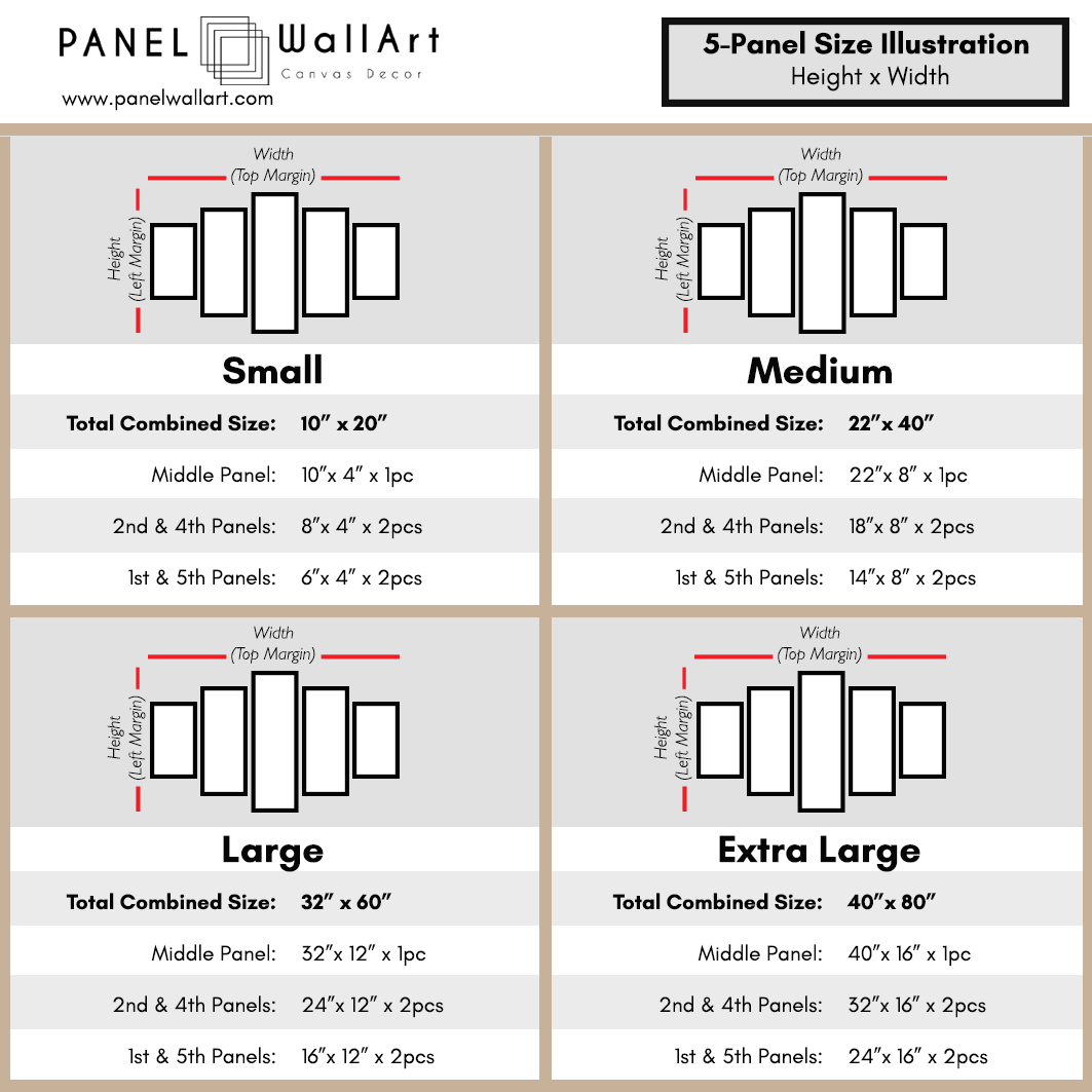5 Panel Canvas Wall Art Size Chart by panelwallart.com
