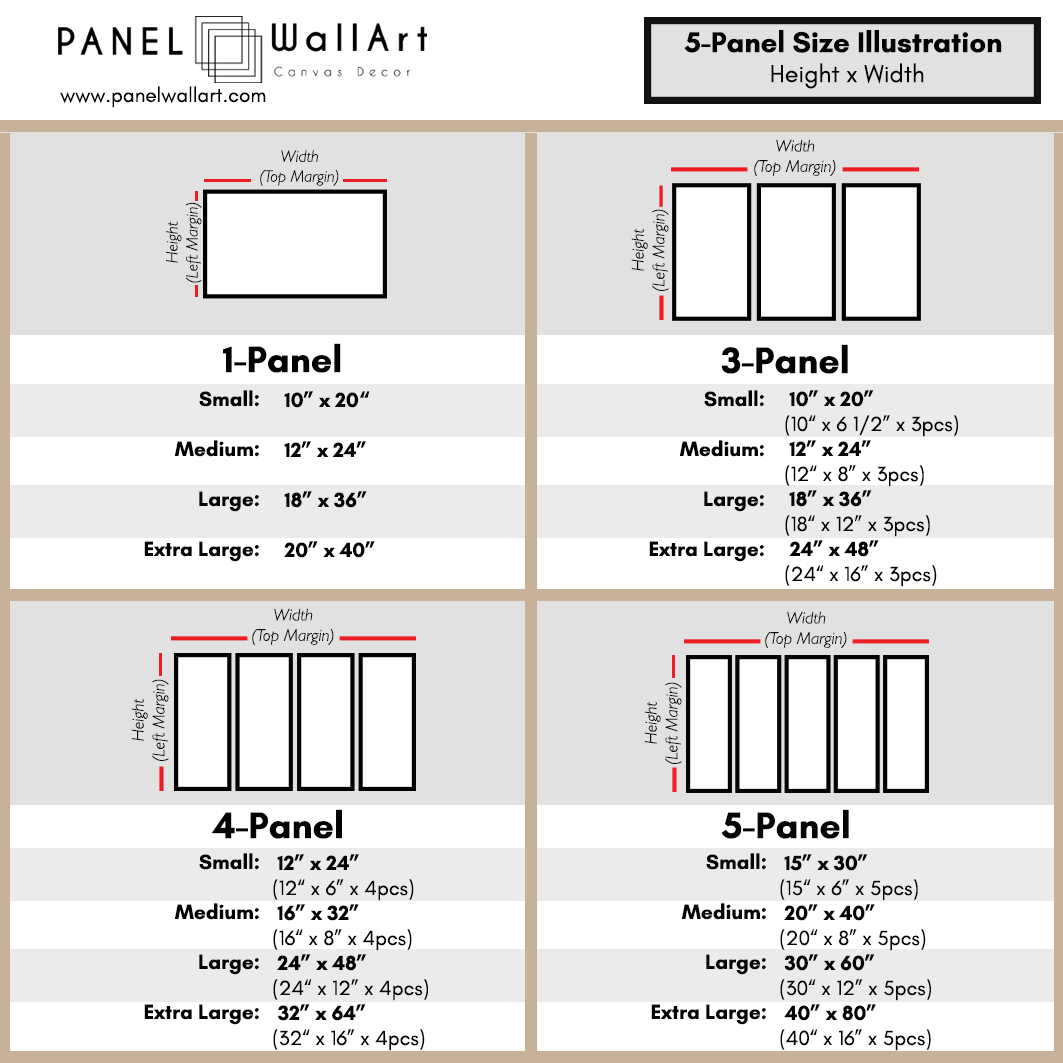 size chart multi panel canvas wall art panelwallart.com