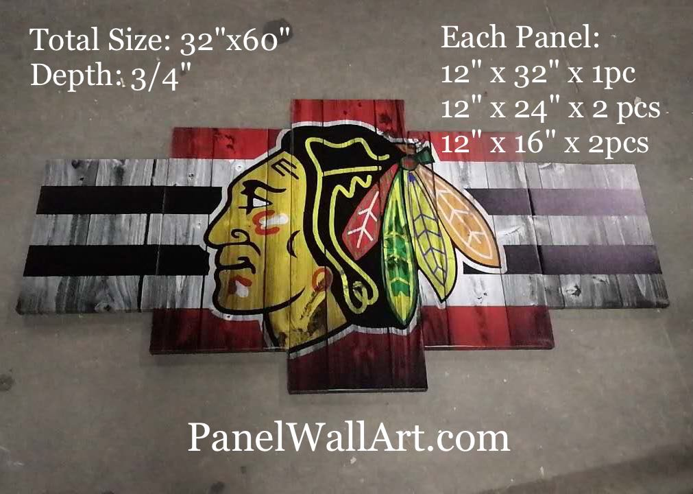 5 panel ice hockey nhl blackhawks canvas wall art
